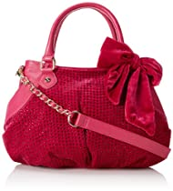 Betsey Johnson Crystal Palace Satchel,Berry,One Size