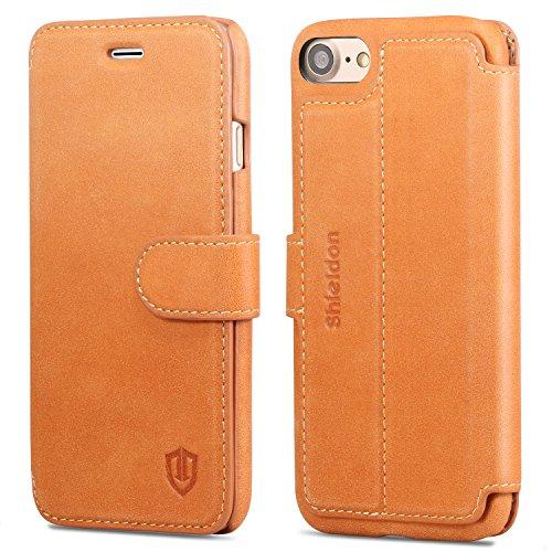 iPhone 7 ケース 手帳型 SHIELDON® アイフォン 7 本革レザーカバー カード入れ スタンド機能 マグネット留め具付き スリム 薄型 レトロブラウン