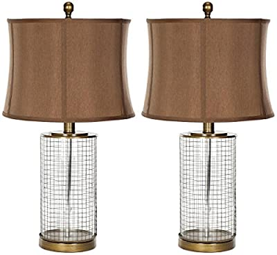 Safavieh Lighting Collection Aerie Brown Glass 26.5-inch Table Lamp (Set of 2)