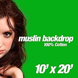ePhotoInc 10 x 20 FT Green Screen Video Photo Backdrops Chromakey Screen Muslin Photography Background 1020G