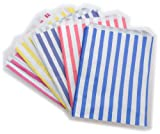 """100 x Mixed Colours & White Stripe / Striped Paper Sweet Party Bags - 7"""" x 9"""""""