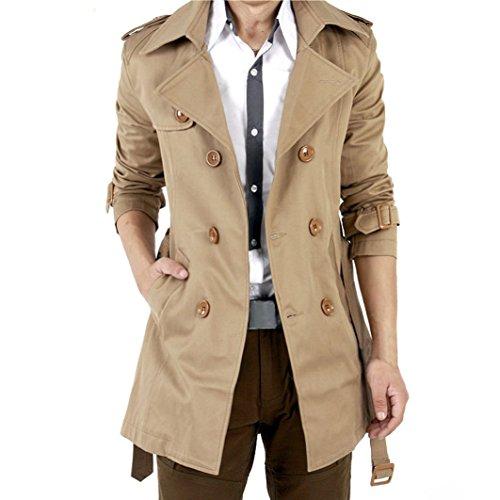 VOBAGA Doppio Petto Slim Fit Windbreaker giacca lunga Trench uomo con cintura cappotto Outwear