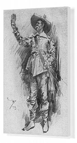 Canvas Print of Early 20th century actor in the role of a Cavalier (Restoration Theatre Costumes)