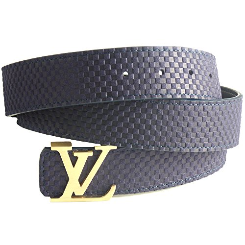 Mens Luxury Fashion Blue Designer Leather Belt (27 - 28, Blue / Gold) (Designer Leather Belts compare prices)