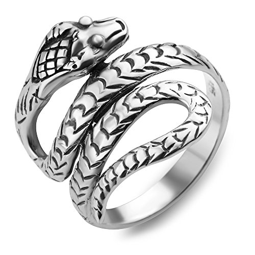 925 Oxidized Sterling Silver King Cobra Coil Snake Band Ring Men Women Unisex Size 8 (Snake Ring Sterling Silver compare prices)