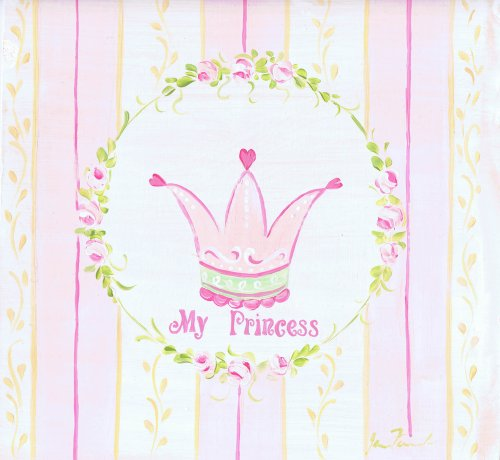 The Kids Room by Stupell My Princess Crown with Yellow and Pink Stripes Square Wall Plaque