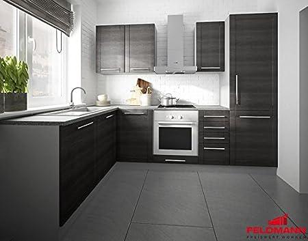 Kuchenzeile L-Form 1615312 grau / fino schwarz 140x250cm