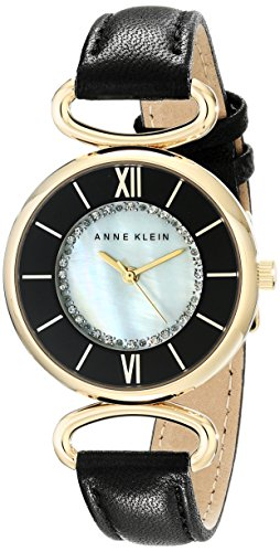 Anne Klein Women's AK/1932MPBK Swarovski Crystal-Accented Watch With Black Leather Band