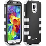 Fosmon HYBO-CAGE Slim Fit Dual Layer Front and Back Hybrid Case for Samsung Galaxy S5 - Retail Packaging (White and Black)