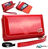 51ZkPVxMVJL. SL160  At&amp;t HTC One X Red Shiny Uptown Wallet Cellphone Carrying Case with Separate Compartment for ID, Cash and Credit Cards + NextDia  Velcro Cable Wrap
