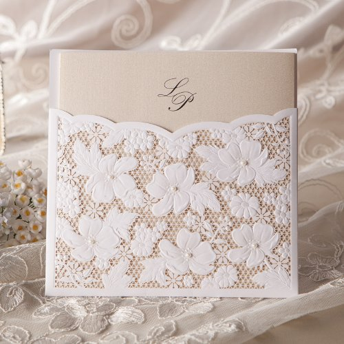 Wishmade 50x Laser Cut Wedding Invitations with Pearl and Lace W1101