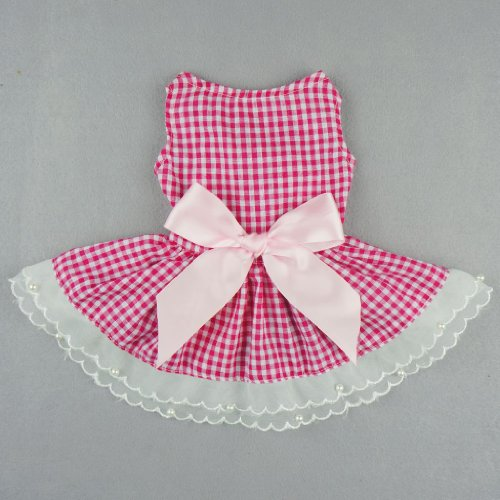 Fitwarm Casual Pink Plaid Ribbon Pet Clothes Dog Dress Lace Shirts Apparel, Medium