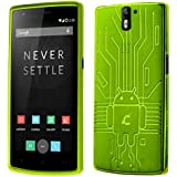 OnePlus One Case, Cruzerlite Bugdroid Circuit TPU Case Compatible for OnePlus One - Green