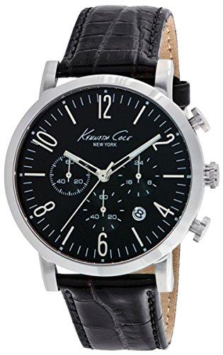 Orologio da polso orologio Kenneth Cole Sport-S/S Uomo Chrono coccodrillo Texture cinturino nero Data 3ATM 44mm 10020826