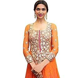 Dipak Fashion New Designer Orange Fancy Embroidery Net Salwaar Kurti For Women