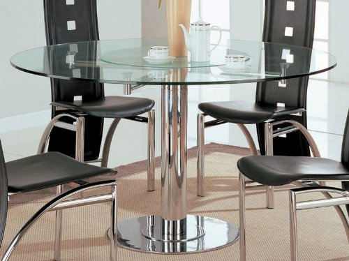 Cheap Rotating Dining Table with Glass Top in Chrome – Coaster (VF_AZ00-45954×29142)