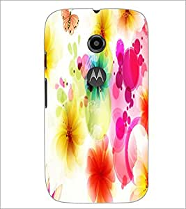 PrintDhaba Floral Pattern D-1107 Back Case Cover for MOTOROLA MOTO E2 (Multi-Coloured)