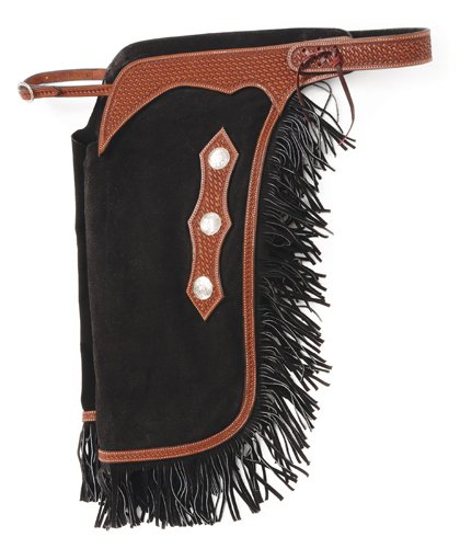 Tough-1 Suede Leather Silver Concho Chinks Small B