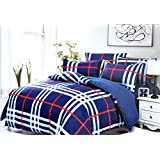 CrossRoads Blue Cotton Double Bedsheet With 2 Pillow Covers