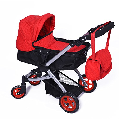Modern Bassinet Doll Stroller -SUPERIOR QUALITY Red Quilted Fabric- NEW LUXURY COLLECTION - Adjustable Height - FREE Diaper Bag (Vintage Doll Pram compare prices)