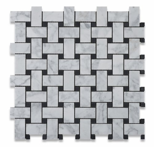 Bianco Carrara White Marble Honed Basketweave Mosaic Tile with Black Dots - 6