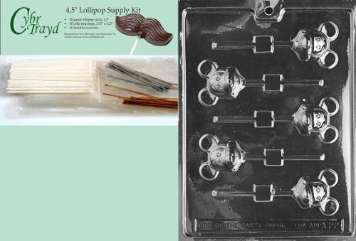 Cybrtrayd 45StK50-A022 Mouse Lolly Mickey Chocolate Candy Mold with Lollipop Supply Kit, Includes 50 4.5-Inch Lollipop Sticks, 50 Cello Bags and 50 Metallic Twist Ties