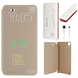 DMG Dot View Interactive Flip Cover Case for HTC Desire 820 (Gold) + 10000 mAh Power Bank