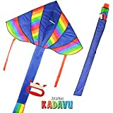 KickFire Kadavu Premium Blue Delta Kite Best Kite For Kids Easy To Fly Large High Flyer Kites Ripstop Nylon Fabric...