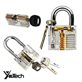 YuliTech Lock Practice Set ,Crystal Visible Cutaway of 3 Most Common Lock Types,For Locksmith Training Lock Pick Set,Includes 3 Different Types of Practice Locks