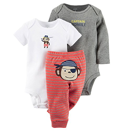 Carters Baby Boys 3-pc. Adorable Bodysuit Set 3 Month Grey/white/red