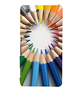 CoLOURFULL PENCILS ARRANGED IN A CIRCULAT PATTERN 3D Hard Polycarbonate Designer Back Case Cover for Sony Xperia SP :: Sony Xperia SP M35h