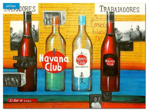 elOleo Cuba Havana Club Party 80×110 Gemälde auf Leinwand handgemalt 83535A günstig