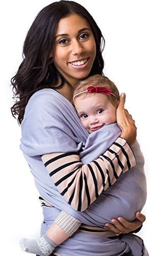 Best Baby Carrier Sling Wrap for Moms - Original Grey Cotton Quality Material - Comfortable, Durable, & Fashionable - For Mothers with Infant Newborn to 35lbs Babies - Shower Gift - By Belephant Baby (Hot Tub Hat compare prices)