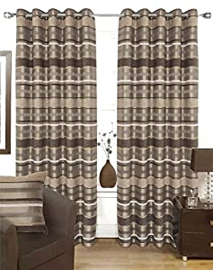 Chenille Striped Brown Beige 90x72 Lined Ring Top Curtains #ortem *rap* from Curtains