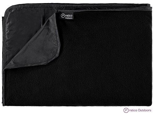 Pratico Outdoors Premium Outdoor Blanket and Stadium Blanket - Large 58 x 84 Inches Black
