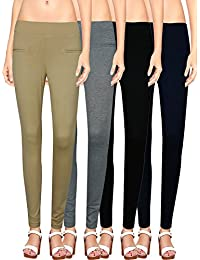 NGT Womens Beige, Black, Navy Blue And Grey Color Jegging In Special Quality.