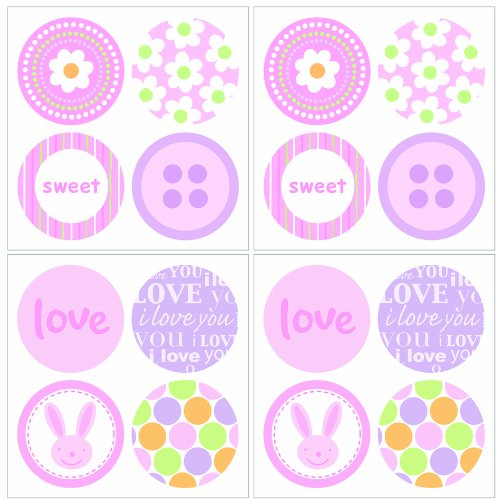 Lot 26 Studios Art-U-Stick Baby Girl Dots Wall Stickers, 12 x 12-Inches