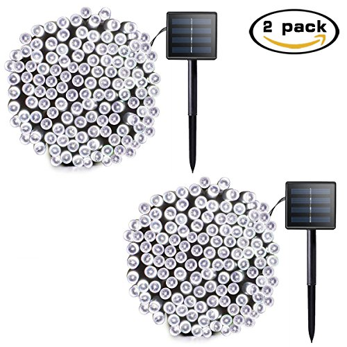 Lalapao 2 Pack Solar String Lights 72ft 22m 200 LED 8 Modes Solar Powered Outdoor Lights Waterproof Starry Christmas Fairy Lights for Indoor Gardens Homes Wedding Holiday Party (White)