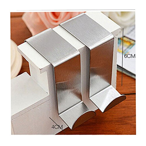 Elife Set of 10 Over Door Hooks Stainless Steel Kitchen Cabinet Unit Draw Cloth Towel Bag Hanger Space Saving Organizer