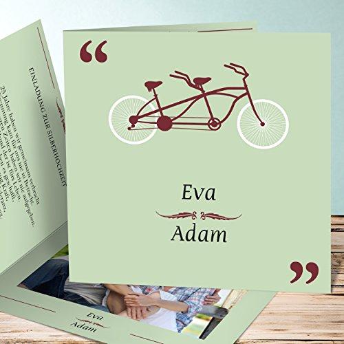 einladungskarten silberhochzeit online bestellen tandem 100 karten quadratische klappkarte. Black Bedroom Furniture Sets. Home Design Ideas