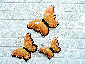 Metal Wall Art Butterfly Butterflies Set of 3 - Orange