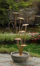335quot Tiered Copper Metal Leaf and Faux Stone Outdoor Patio Garden Water Fountain