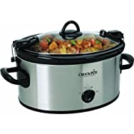 Jarden Consumer Solutions SCCPVL600-S Rival 6 Qt Oval Manual Stainless Steel Crock Pot Slow Cooker