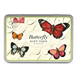 Butterfly Gift Tags, 36 Assorted Tags in Keepsake Metal Case