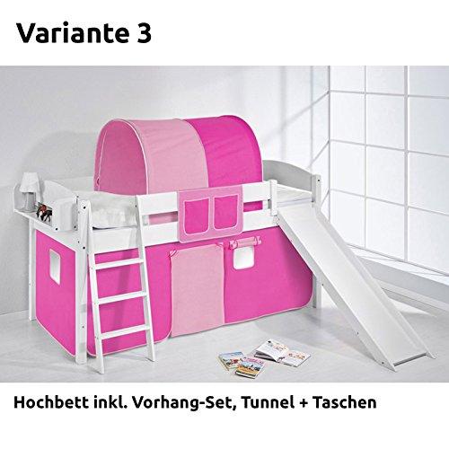 Hochbett Spielbett IDA Rosa Rosa, mit Rutsche und Vorhang, weiß, Variante 3