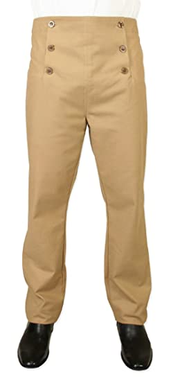Historical Emporium Mens Cotton Blend Regency Fall Front Trousers $69.95 AT vintagedancer.com