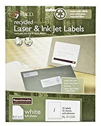 MACO Recycled Repositionable Laser/Ink Jet White Full Sheet Labels, 8-1/2 x 11 Inches, 1 Per Sheet, 25 Per Box (RL-0125R)