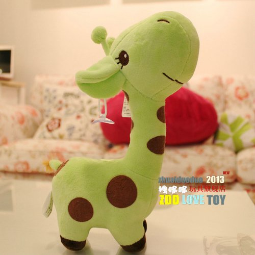 Giraffe Back Cushion Lint Wistiti Doll Qee Toy Cushion For Leaning On Bolster Pillow Flower Kids Like It For Girls Boys School Birthdays Gift-- Green,Small front-1017818