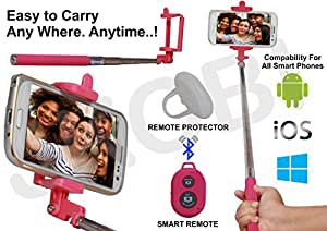 Selfie Stick Monopod With Bluetooth Remote Wireless Shutter Connectivity Compatible For Lava Iris 348 -Pink