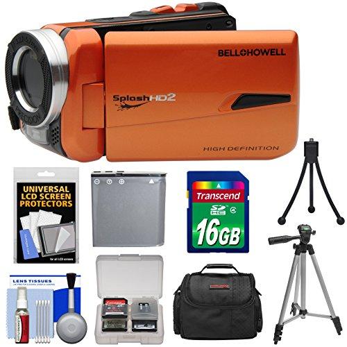 Bell & Howell Splash HD WV50 Waterproof Digital Video Camera Camcorder (Orange) with 16GB Card + Battery + Case + Tripods + Kit